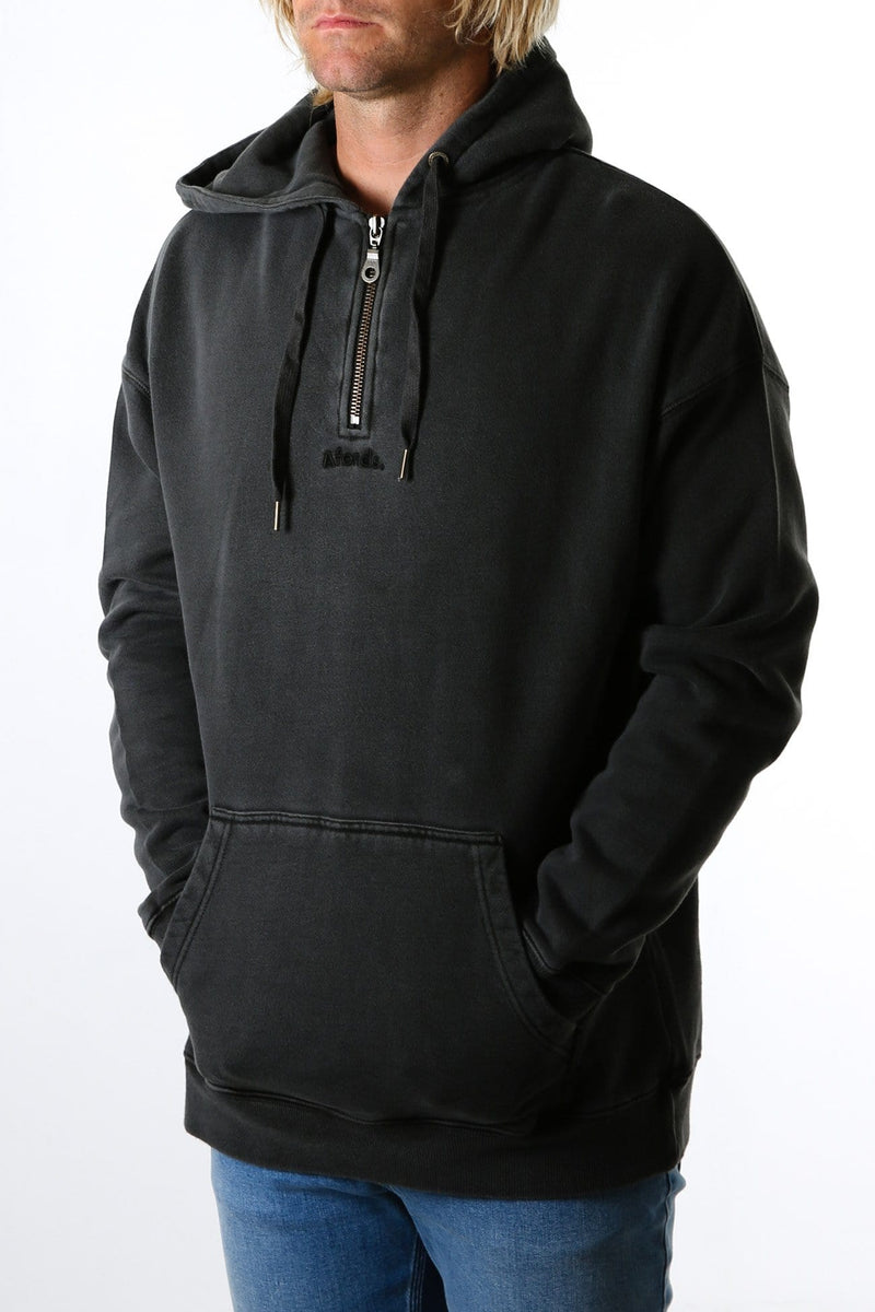 Nylon Half Zip Pull On Hood Vintage Black