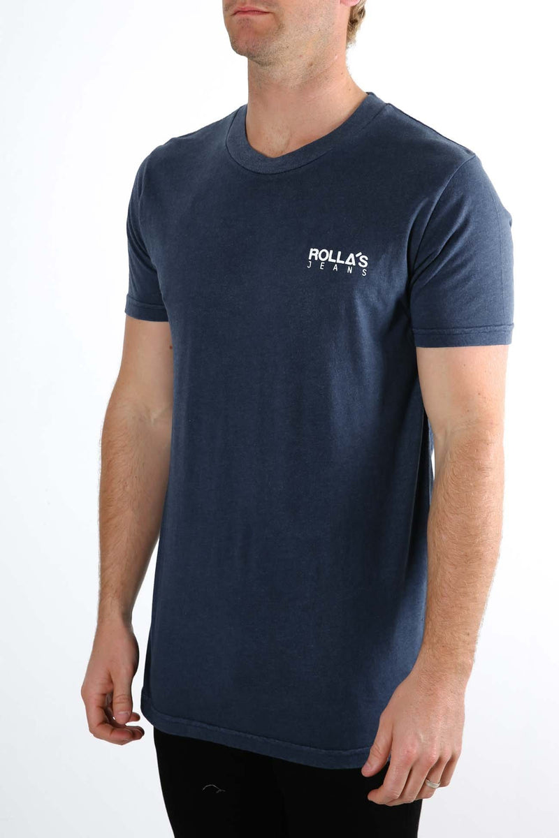 Old Mate Logo Tee Navy Rollas - Jean Jail