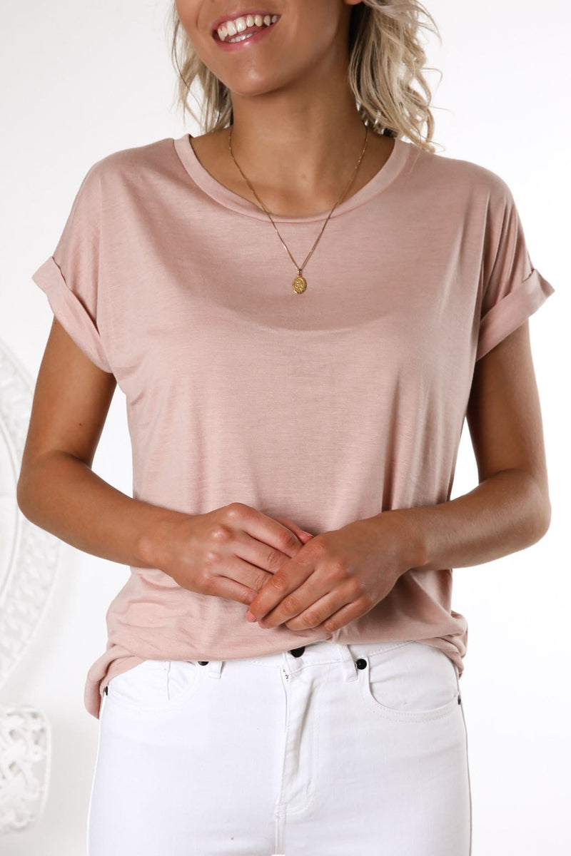 On A Roll Sleeve Tee Blush