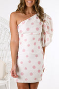 One Spot Mini Dress White Pink