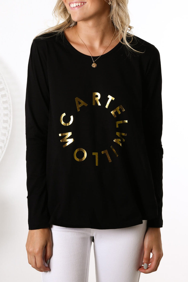 Orbit Logo Long Sleeve Top Black