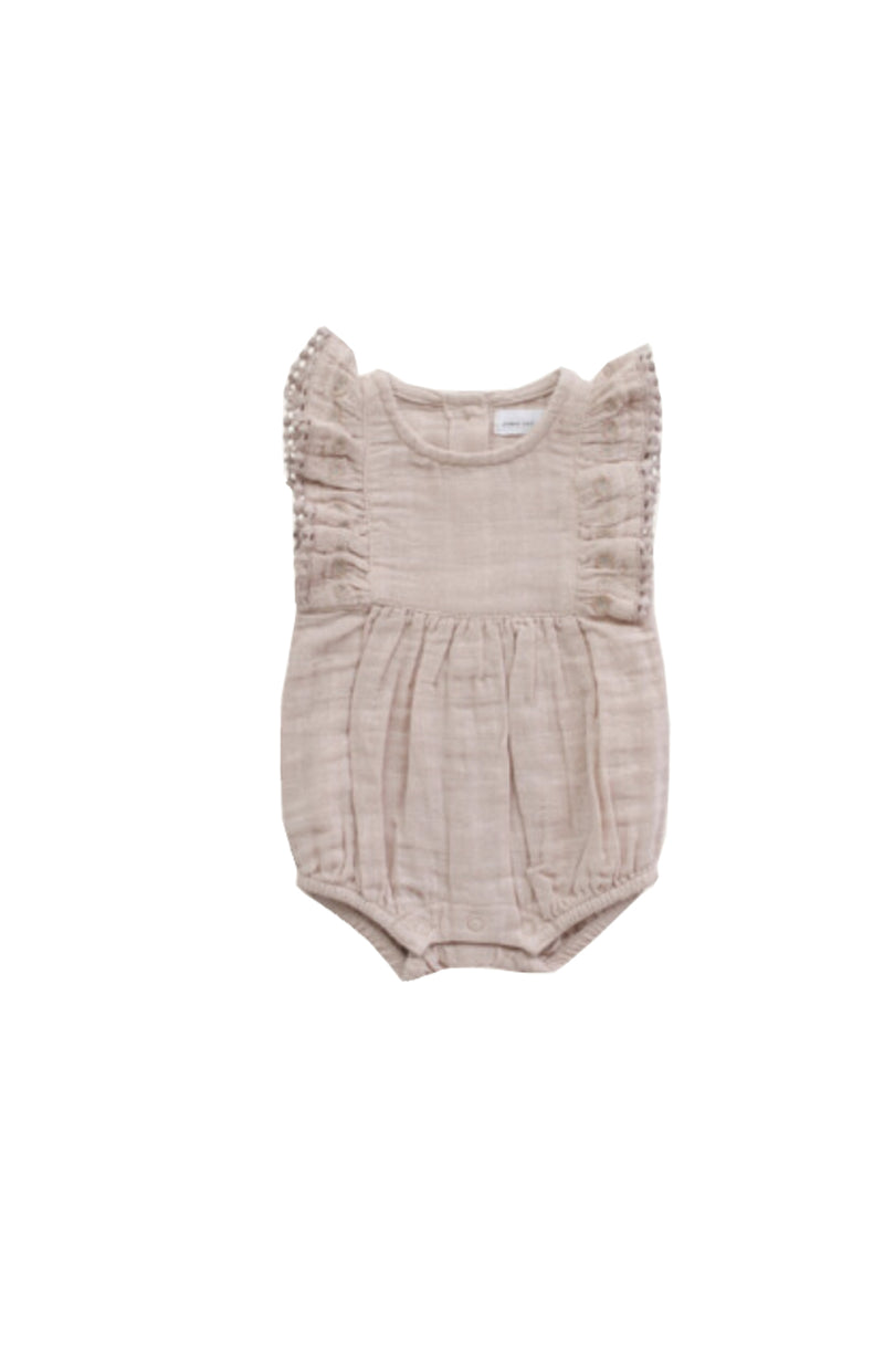 Organic Cotton Muslin Stella Playsuit Rose Dust
