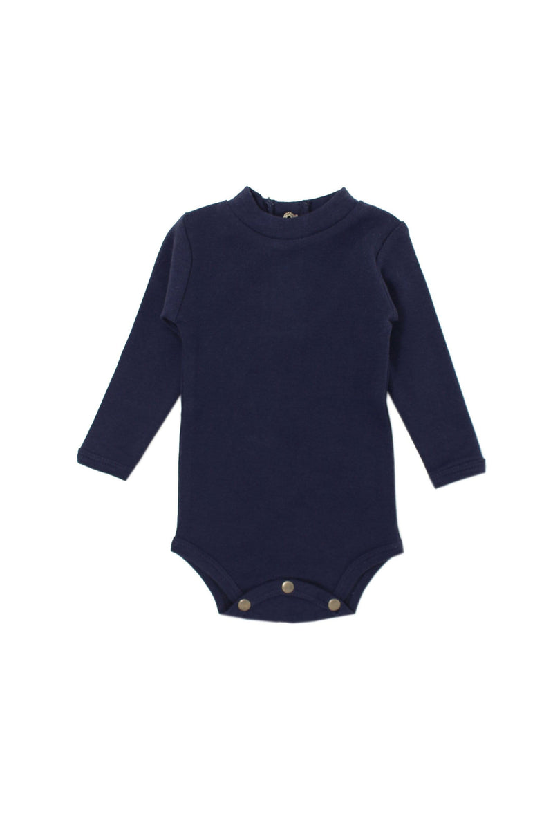 Organic Mock-Neck Bodysuit Navy