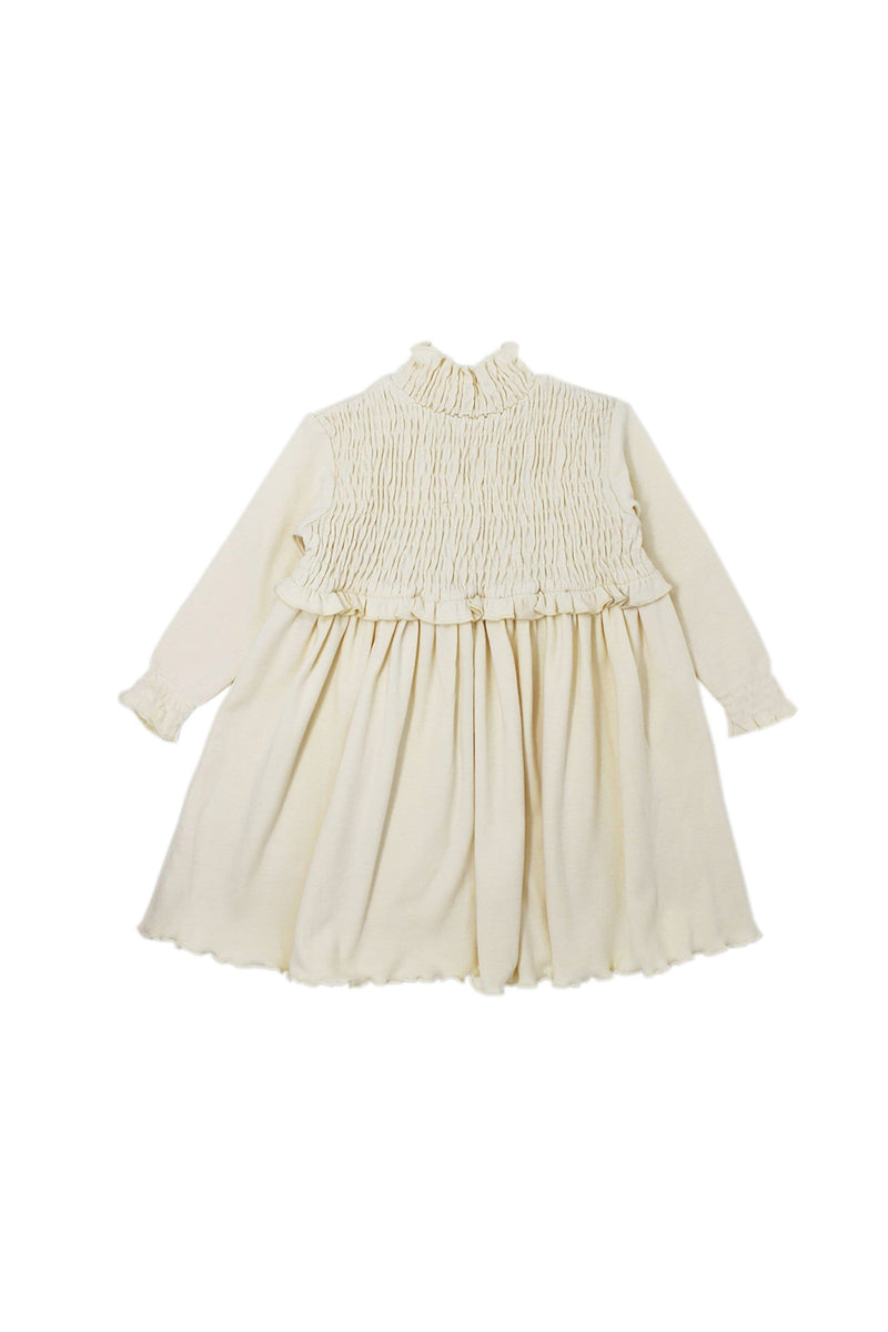 Organic Smocked Dress Beige