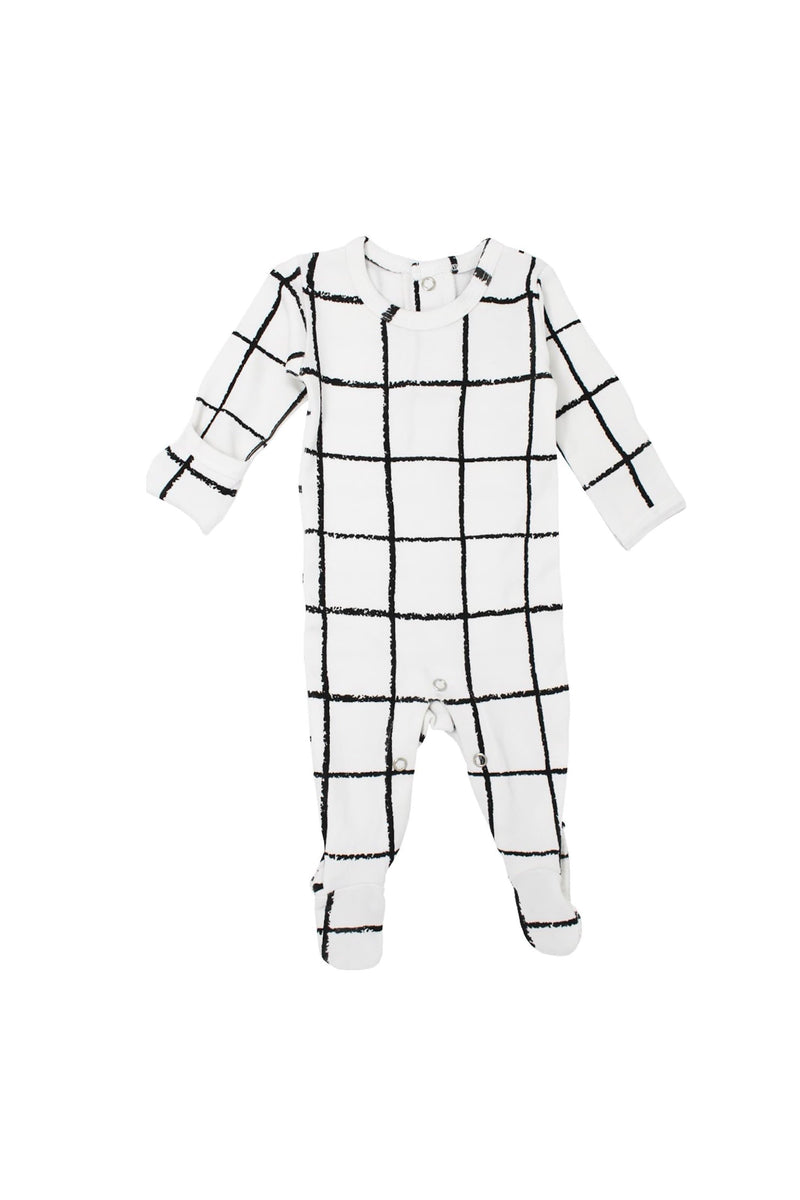 Organic Back-Snap Footed Overall Hopscotch