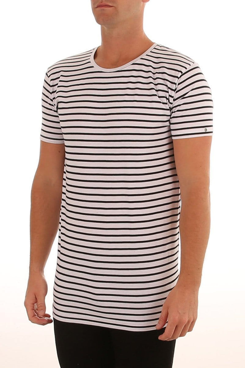 Over Crotch Stripe Tee White Black Silent Theory - Jean Jail