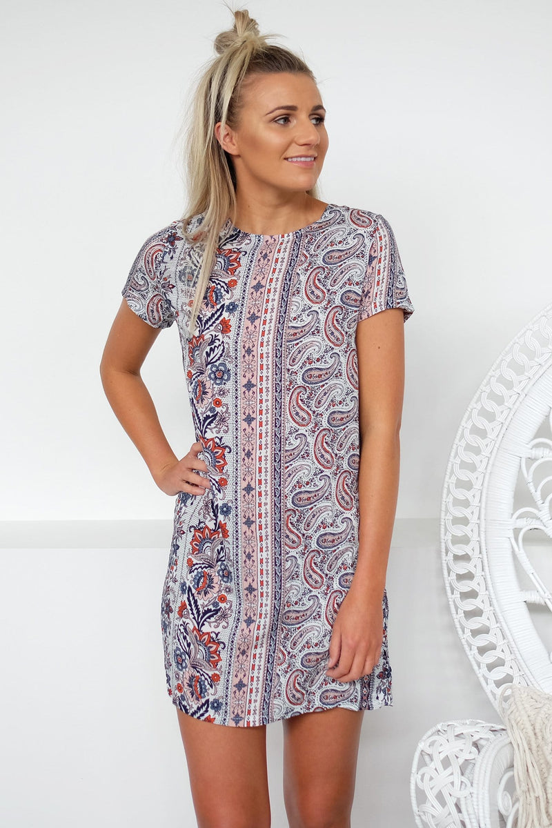 Paisley Shift Dress Paisley Print All About Eve - Jean Jail