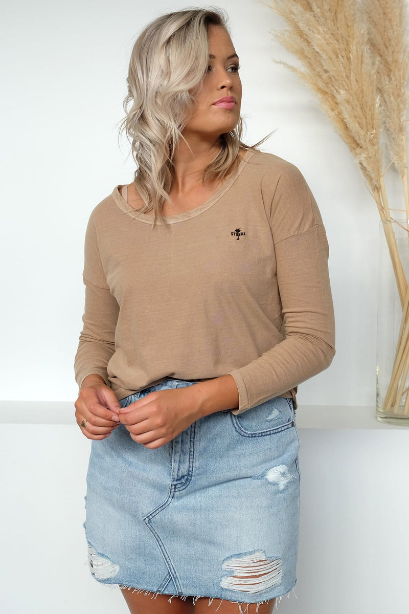 Palm Embro Long Sleeve Scoop Tee Canyon Thrills - Jean Jail