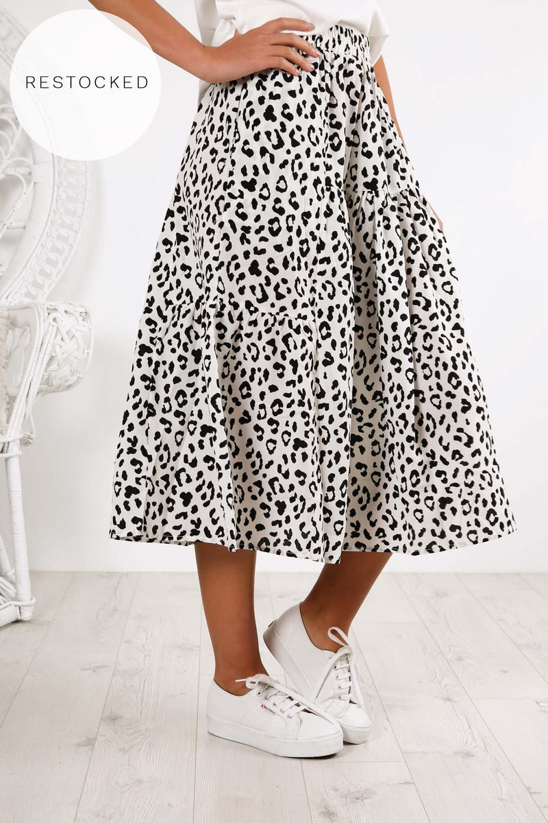 Piper Skirt White Leopard
