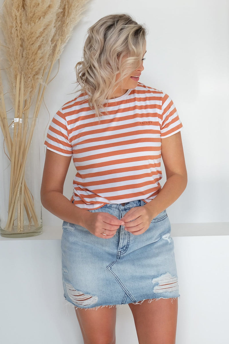 Piper Stripe Tee Rust Stripe All About Eve - Jean Jail