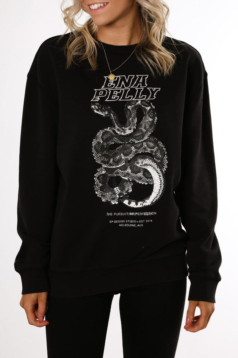 Python Print Sweat Black Grey