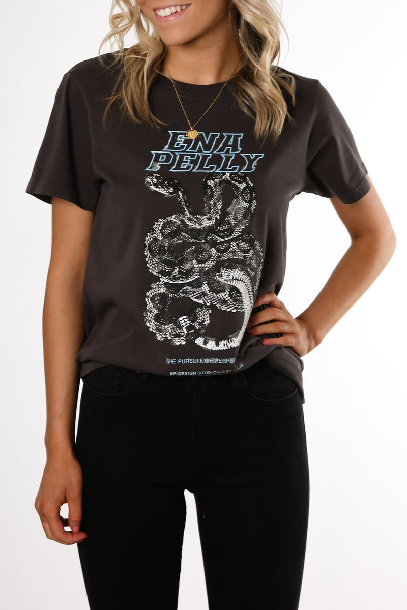 Python Print Tee Faded Black Blue