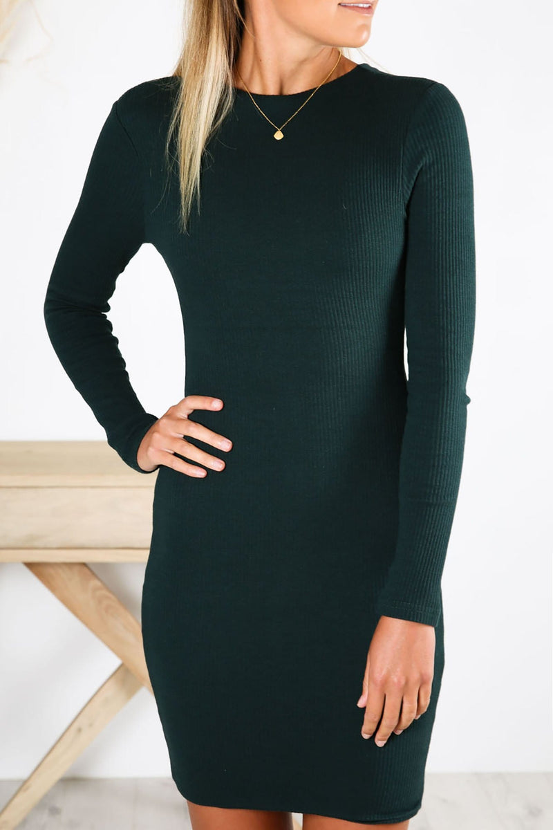Rochelle Ribbed Midi Dress Green Sundays The Label - Jean Jail