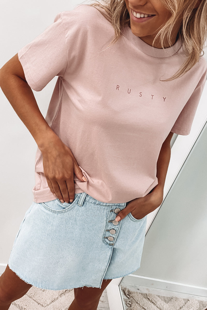 Rusty Short Sleeve Tee Ash Pink