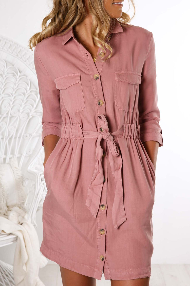 Seeker Belted Shirt Dress Lychee Sass - Jean Jail
