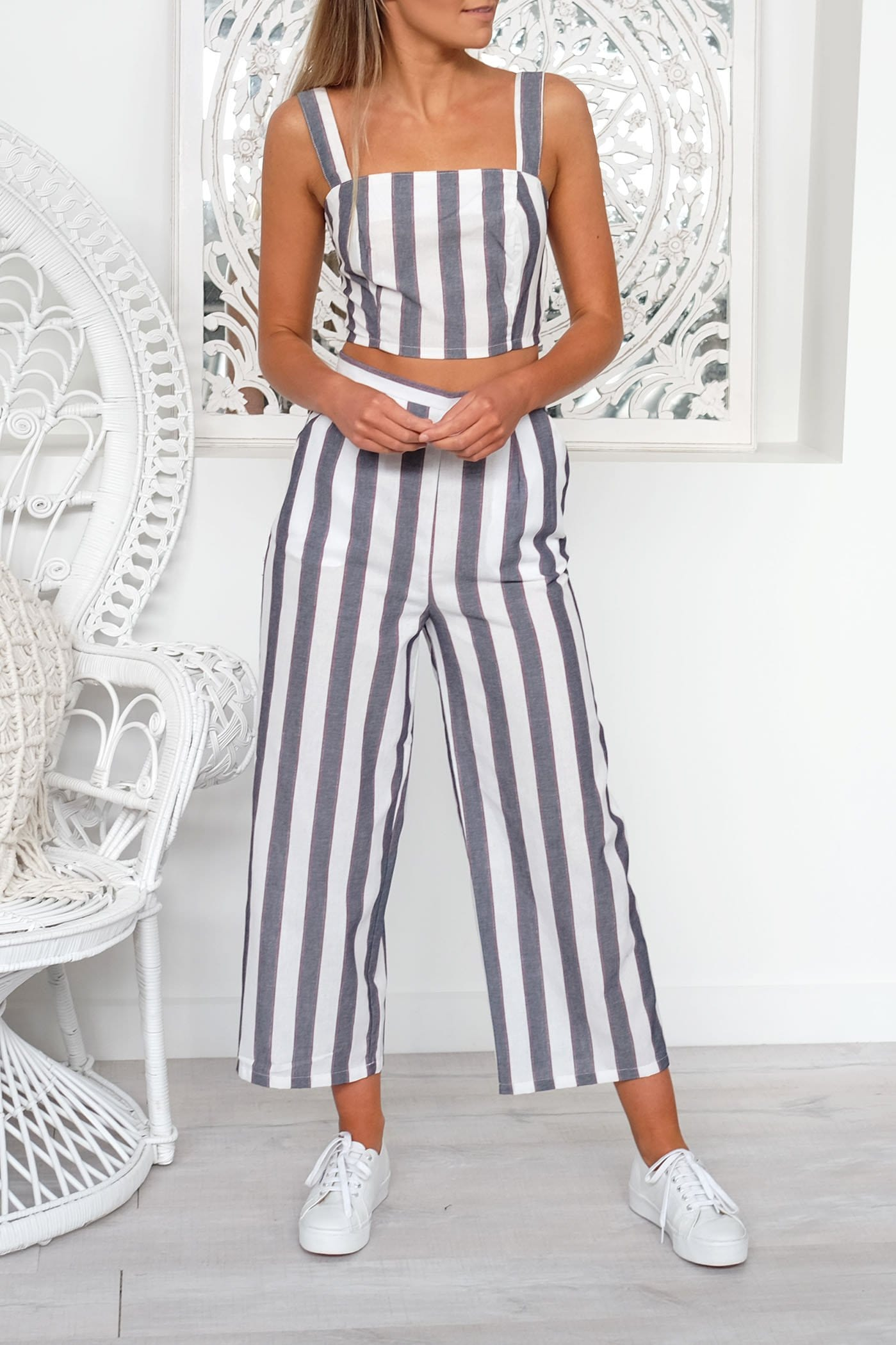 Sequence Stripe Pant Navy Ivory