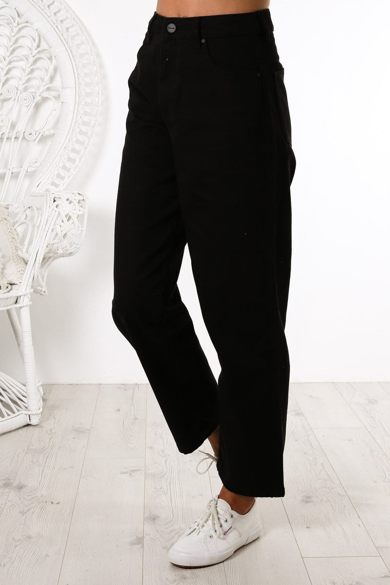 Shelby Twill High Waist Wide Leg Jeans Black