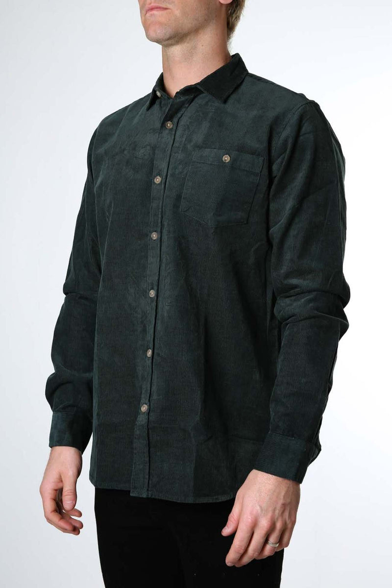 Soho Cord Long Sleeve Shirt Bottle Green Silent Theory - Jean Jail