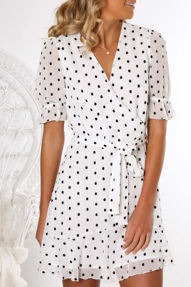 Something About You Mini Dress Cream Black Spots Talulah - Jean Jail