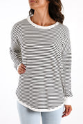 Sophie Knit Jumper White Black Terrain