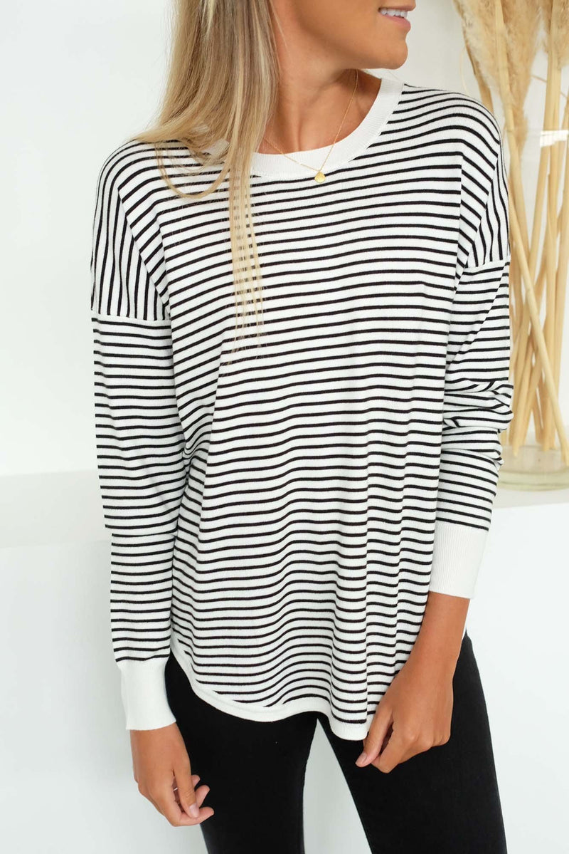 Sophie Knit Jumper White Black Stripe Betty Basics - Jean Jail