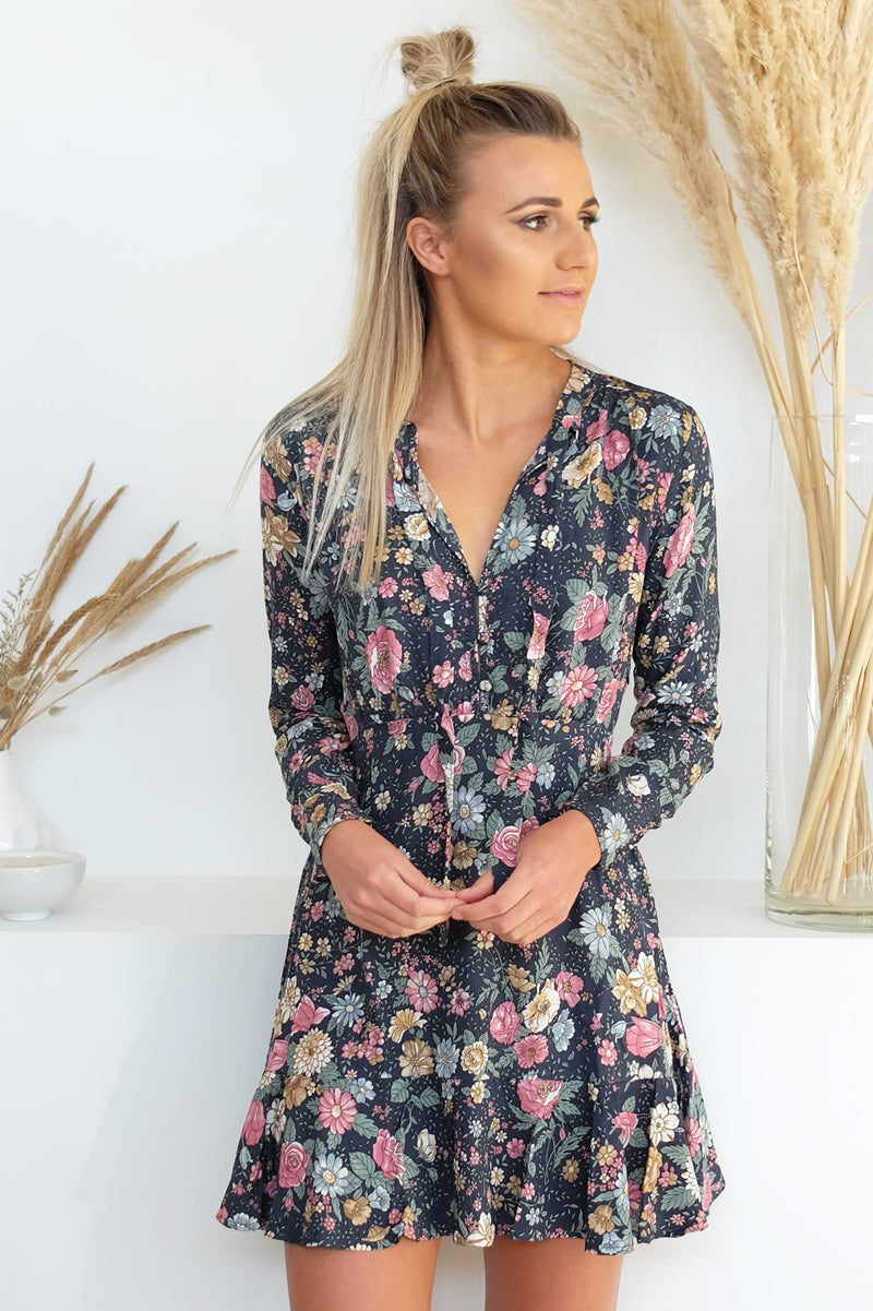 Spring Rose Wylde Long Sleeve Mini Dress Navy Auguste - Jean Jail