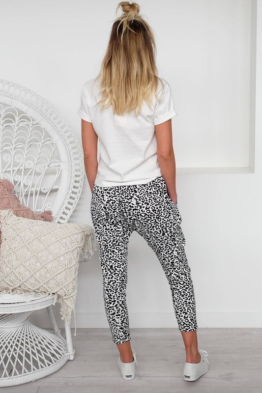 Stevie Slouch Pant White Leopard
