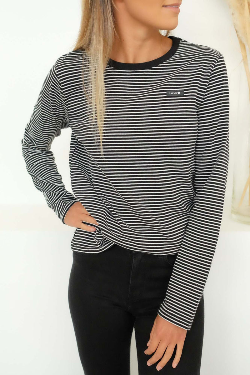 Stripe Long Sleeve T-Shirt Black Hurley - Jean Jail