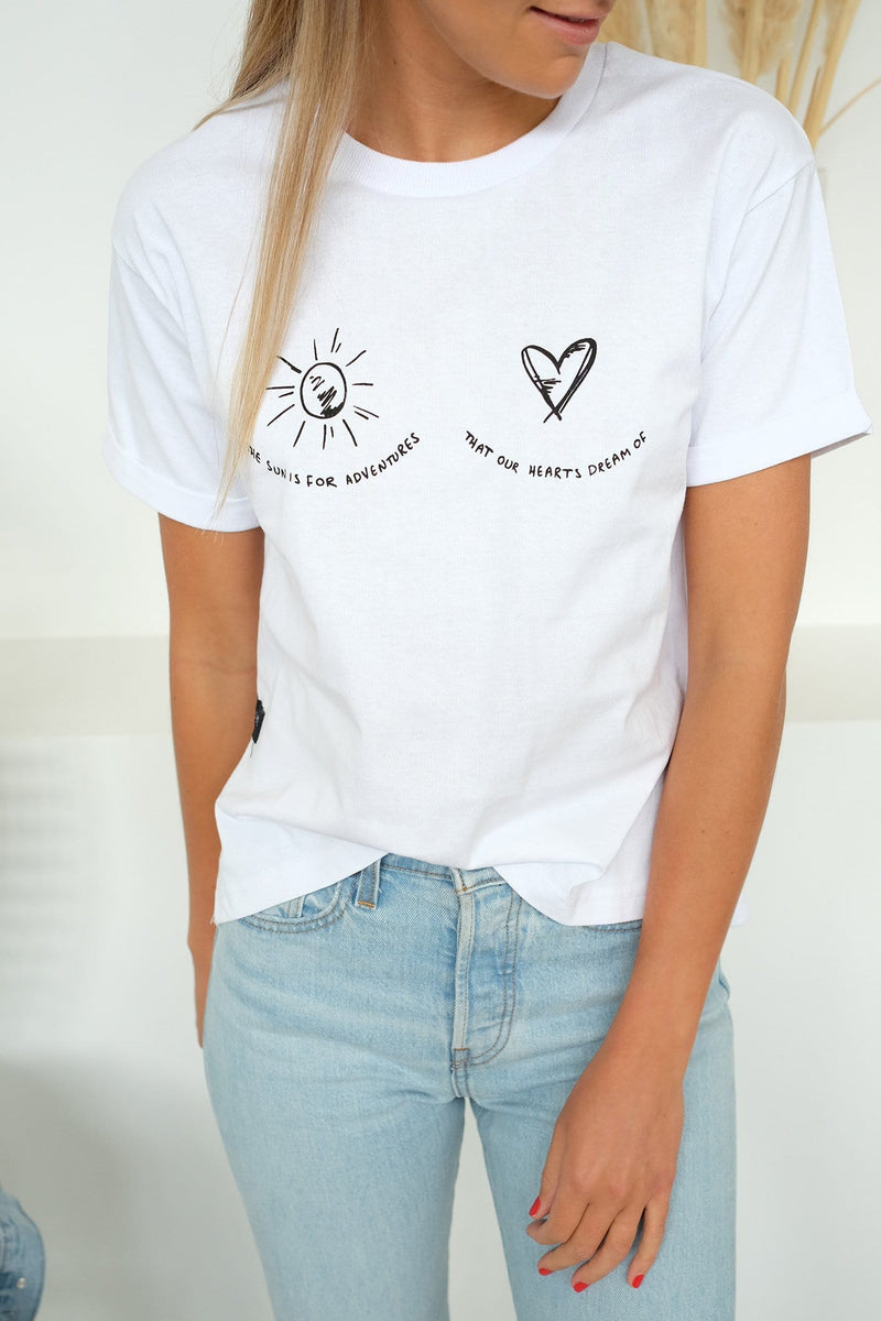 Sun To The Heart Tee White All About Eve - Jean Jail