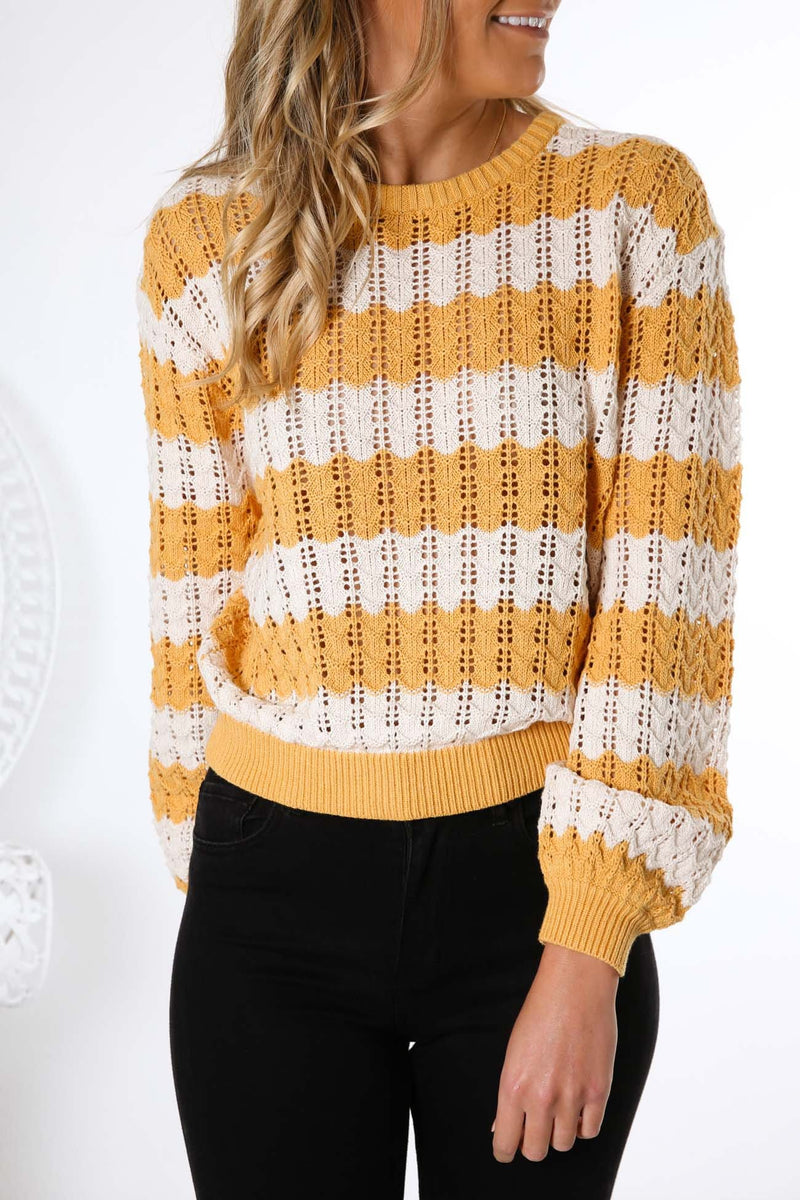 Sunshine Stripe Knit Gold White Wrangler - Jean Jail