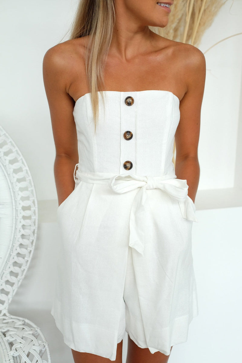 Sweetheart Playsuit White
