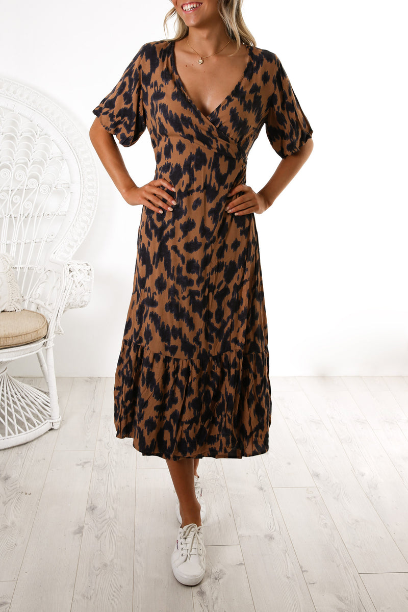 Sylvi Puff Dress Amber Animal