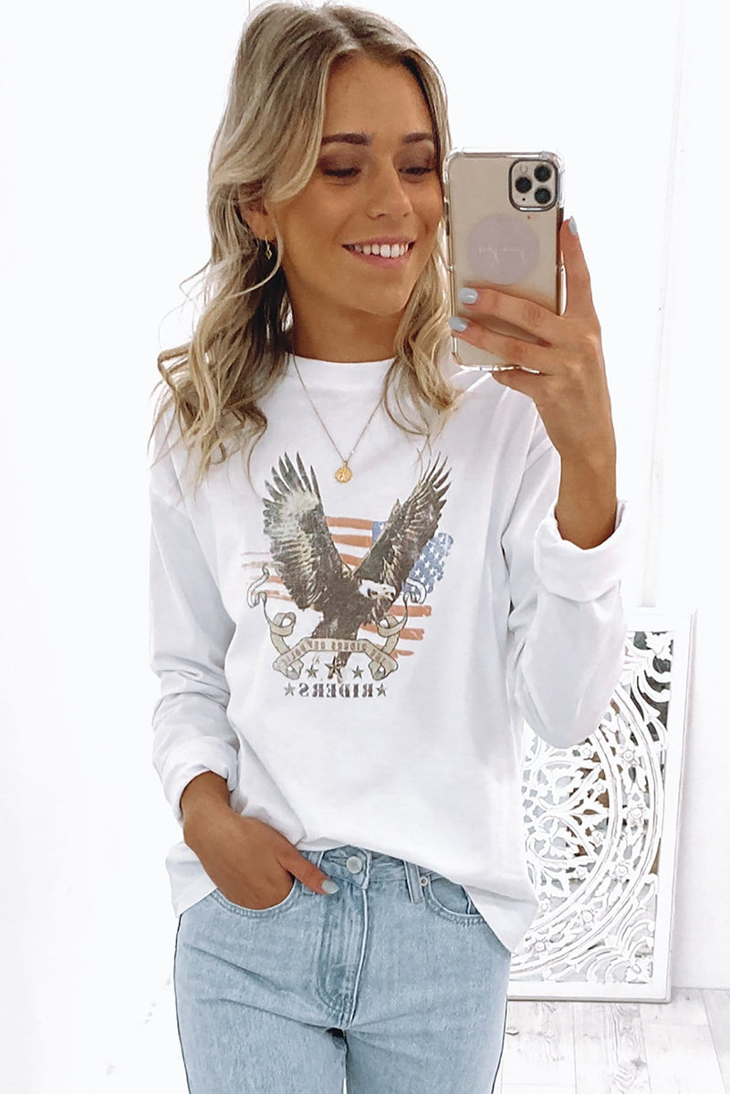 Take Flight Long Sleeve Tee White