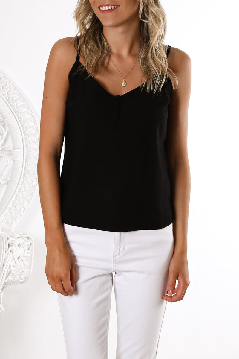 Tarva Button Cami Black