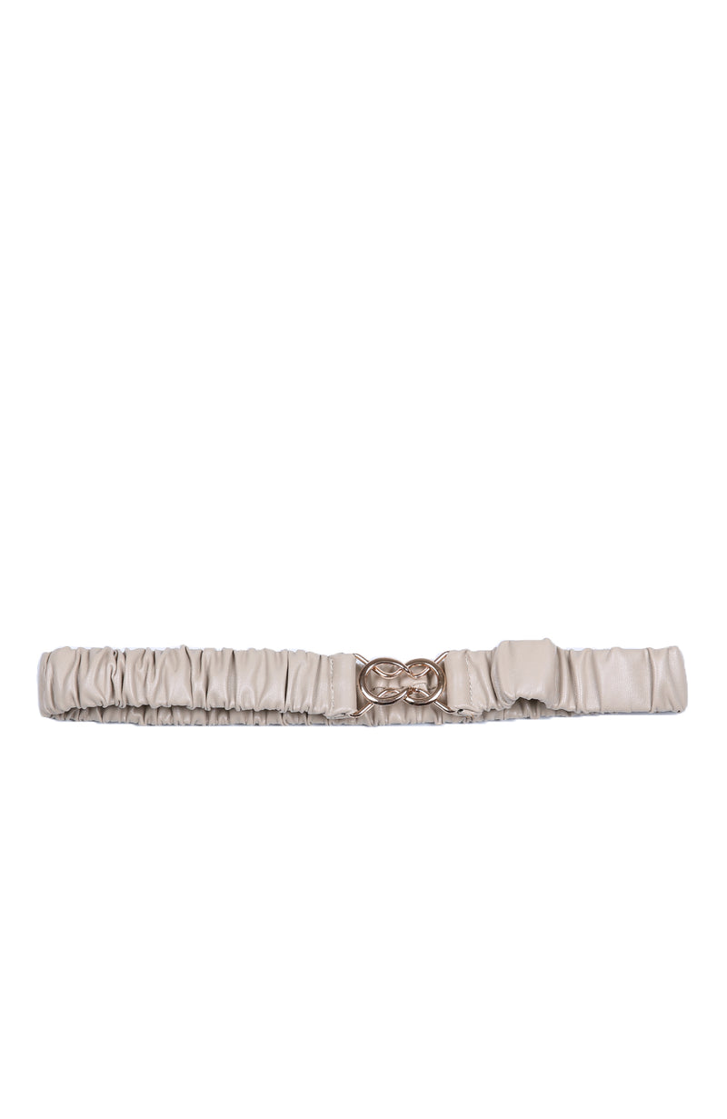 Teegan Rouched Stretchy Belt Beige