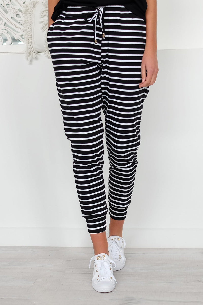 Tell Me More Pant Black White Stripe Jean Jail - Jean Jail