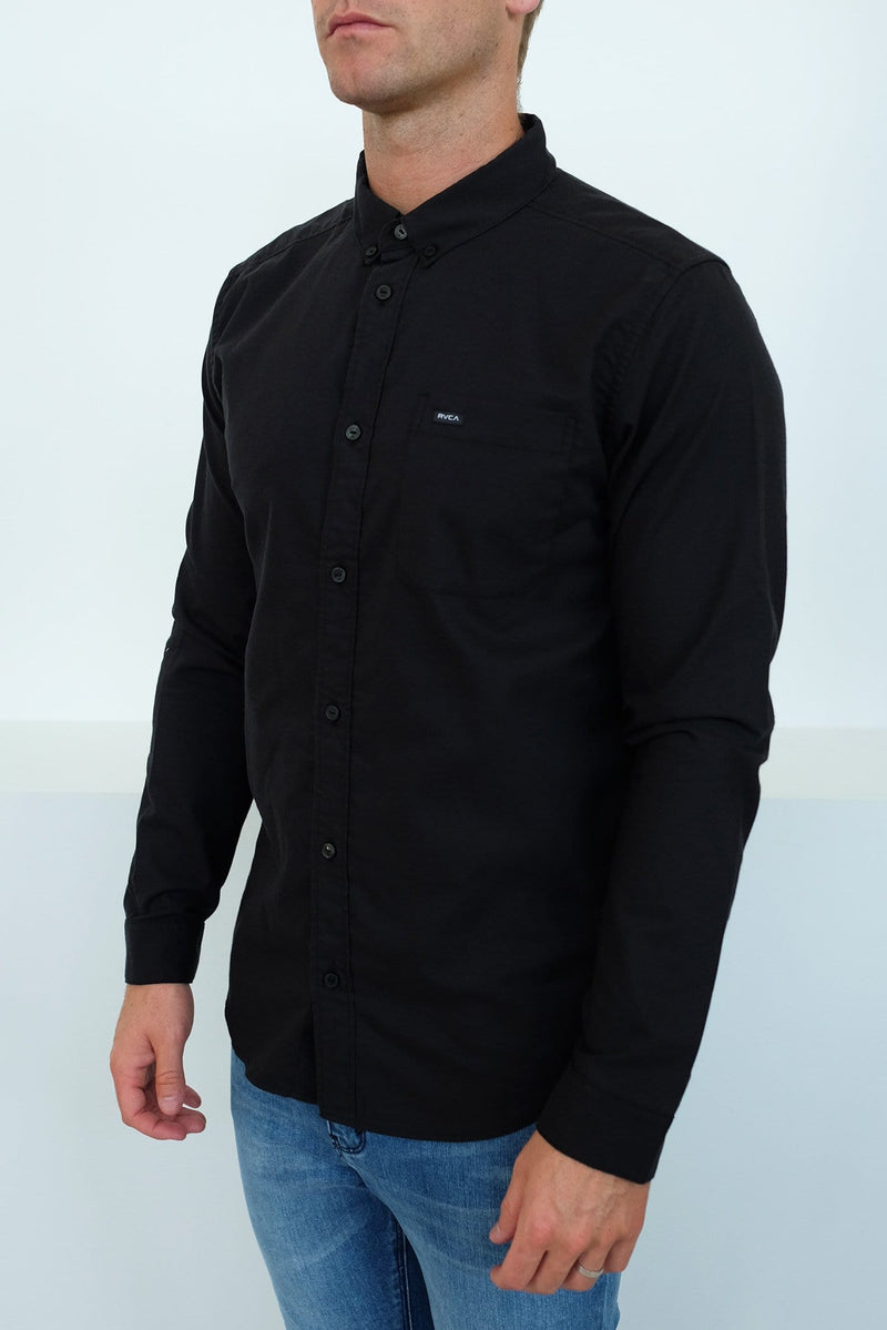 Thatll Do Stretch Long Sleeve Shirt Pirate Black RVCA - Jean Jail