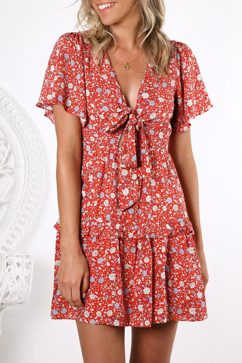 This City Dress Red Floral