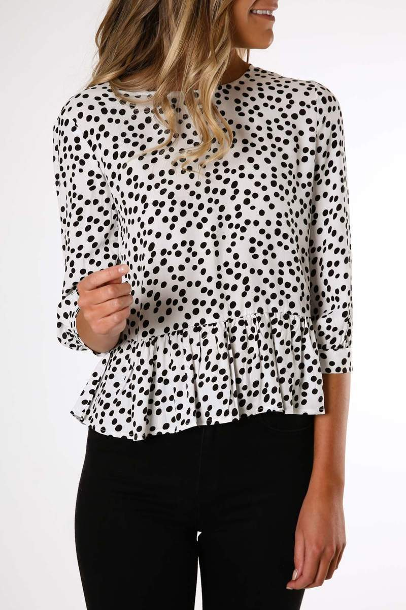 Sample - Thora Spot Frill Top White Dot