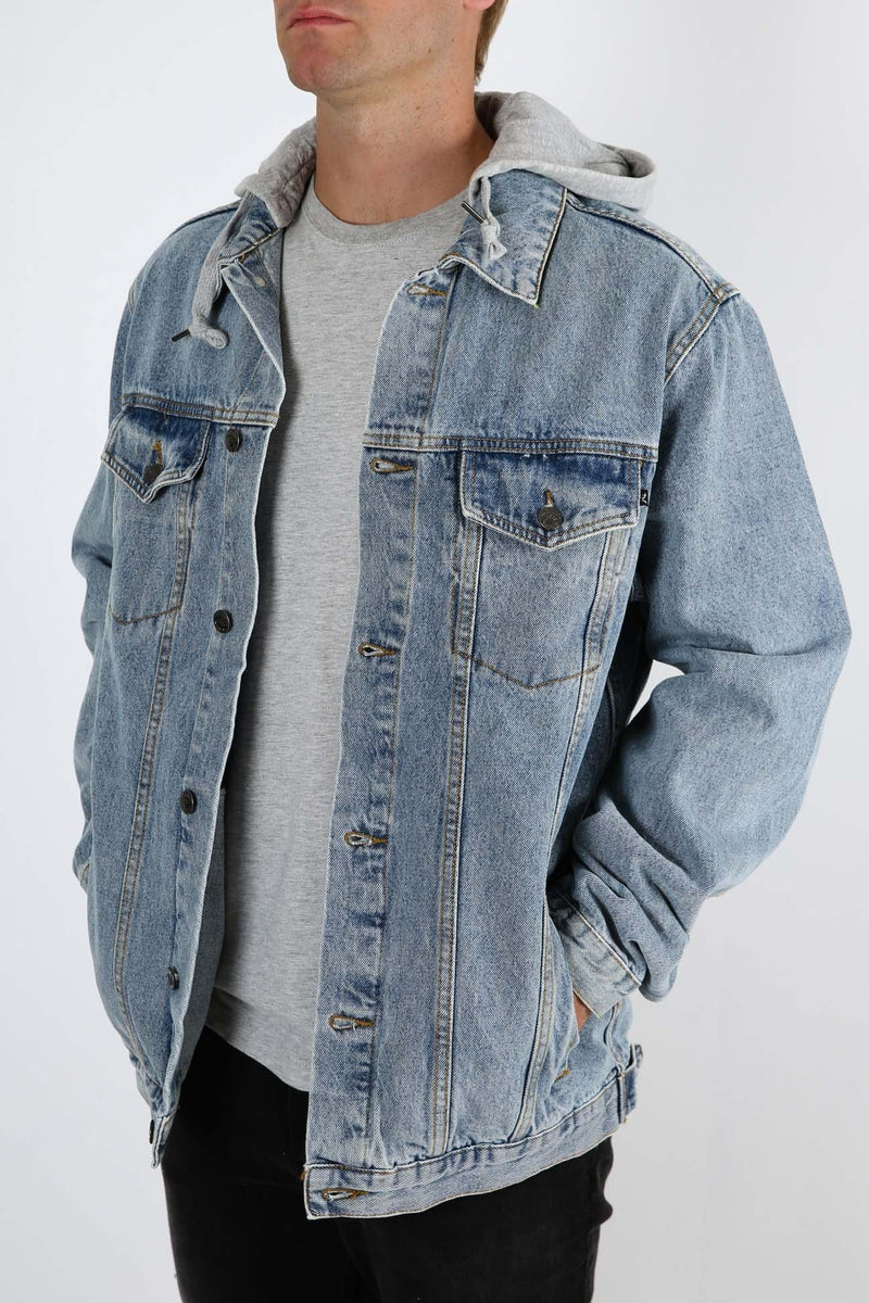 Throne Hooded Trucker Jacket Thrifted Blue Rusty - Jean Jail