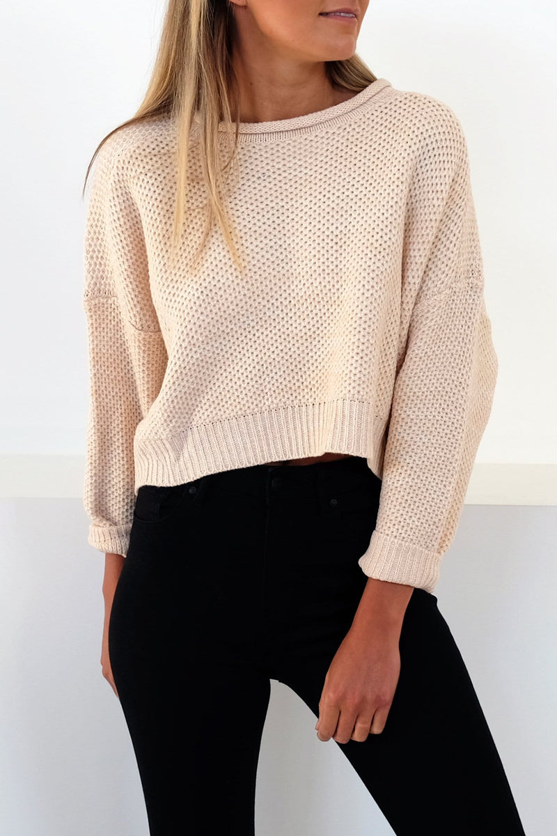 Time For Me Knit Jumper Beige Jean Jail - Jean Jail