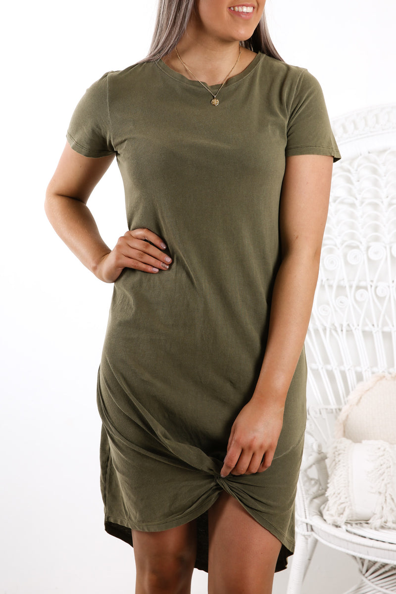 Twisted Tee Dress Khaki