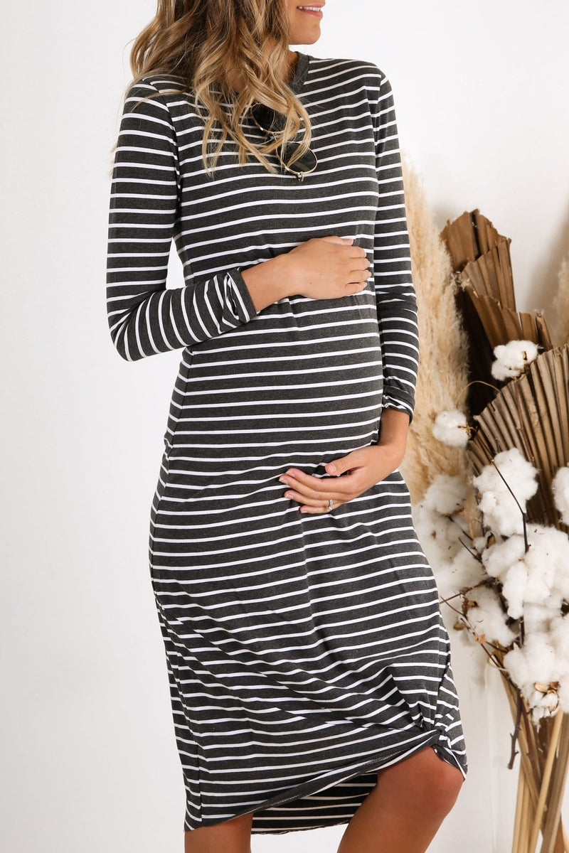 Maternity Isabelle Long Sleeve Maxi Dress Charcoal Stripe