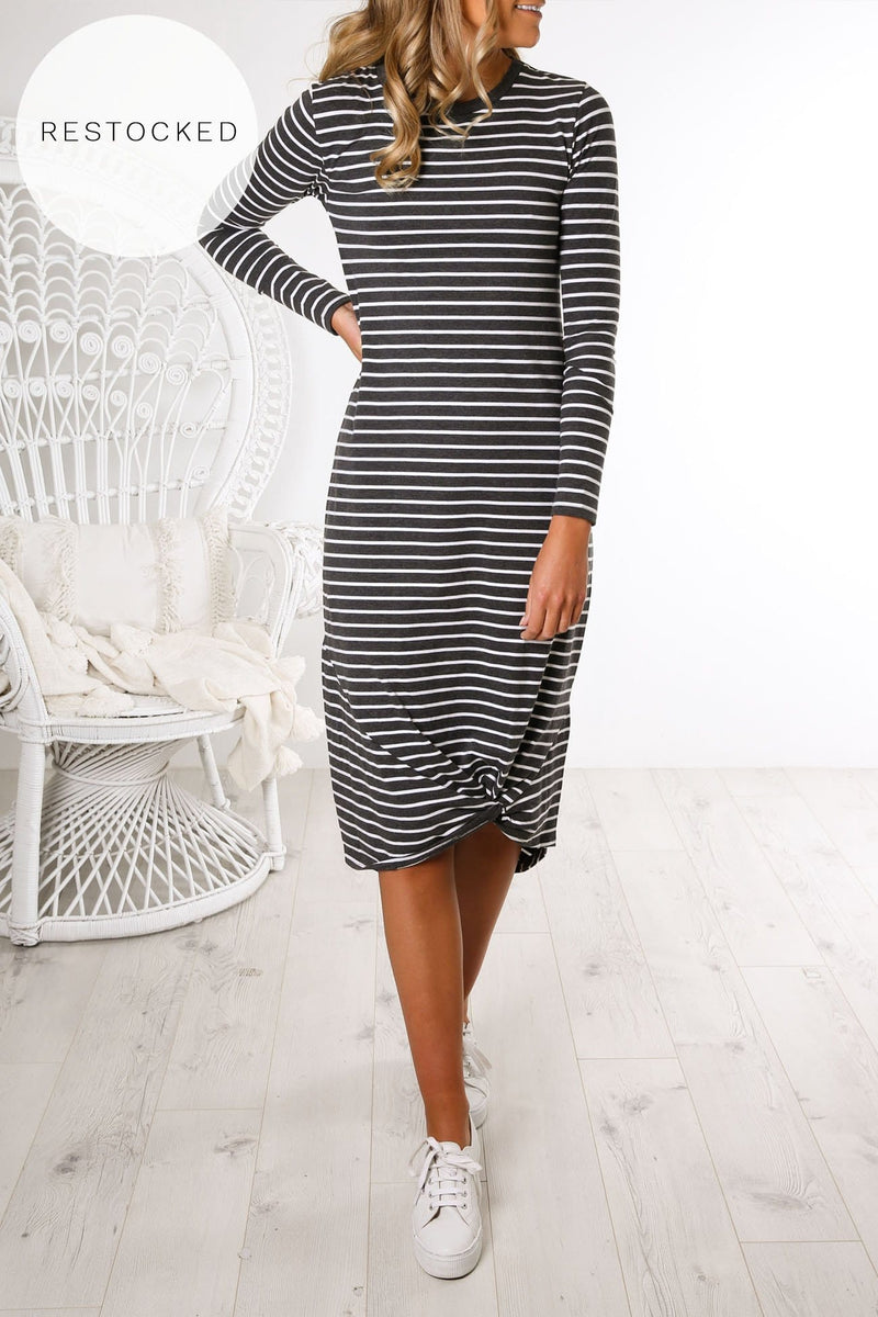 Twisted Long Sleeve Maxi Dress Charcoal Stripe