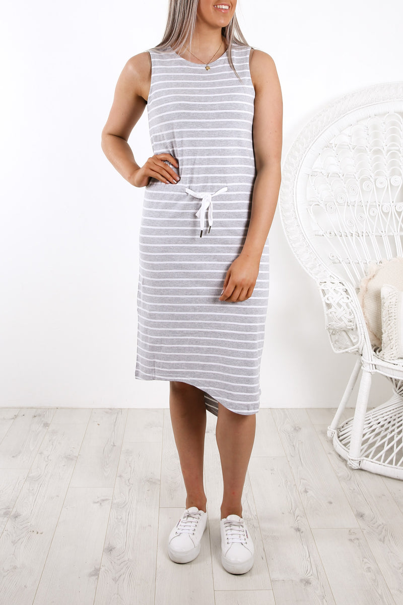 Waisted Midi Dress Grey White Stripe
