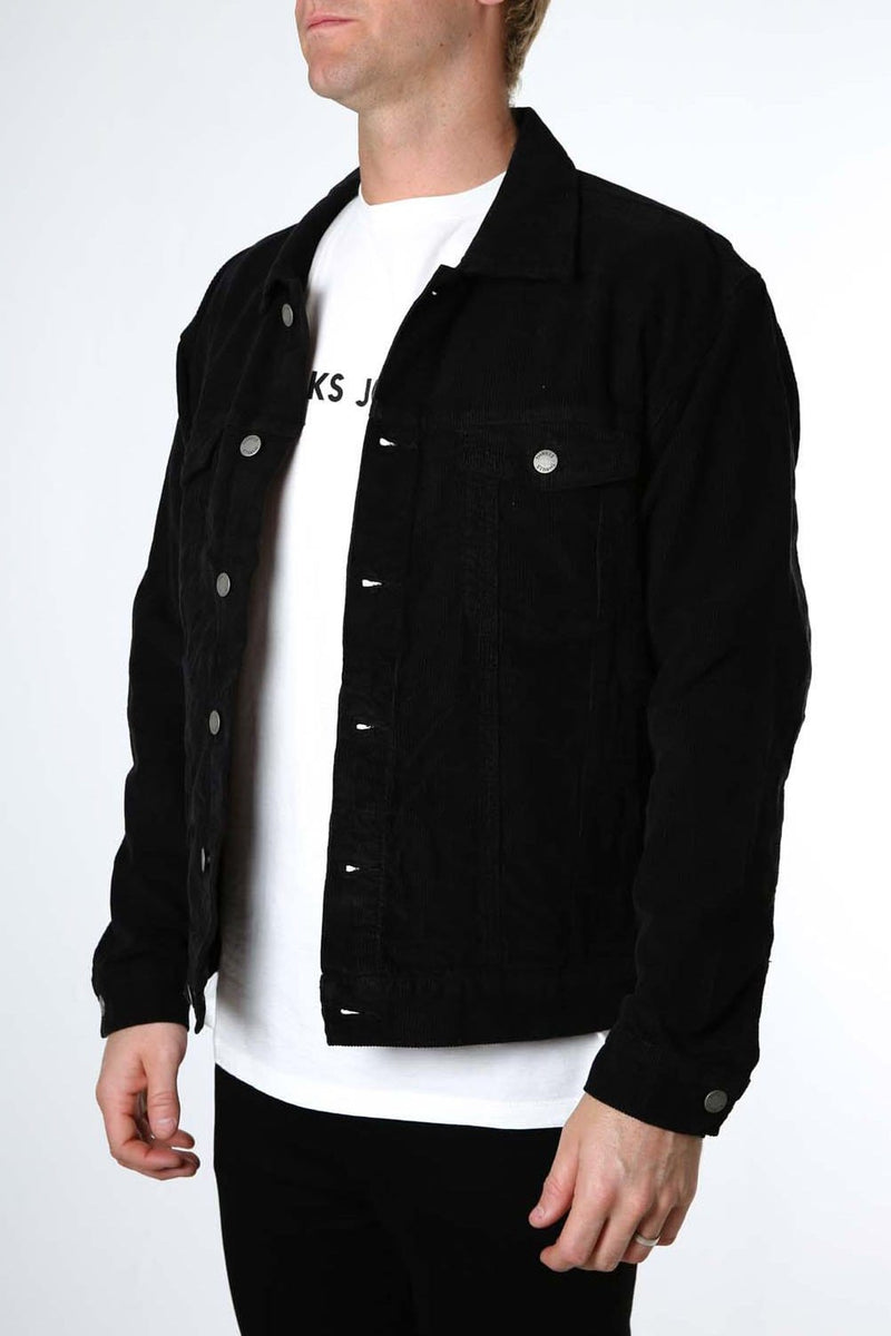 Wanderer Corduroy Oversized Denim Jacket Overdyed Black Thrills - Jean Jail