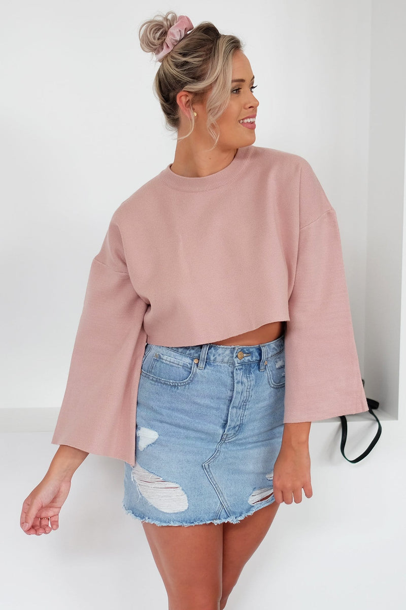 Where Now Crop Jumper Blush Jean Jail - Jean Jail