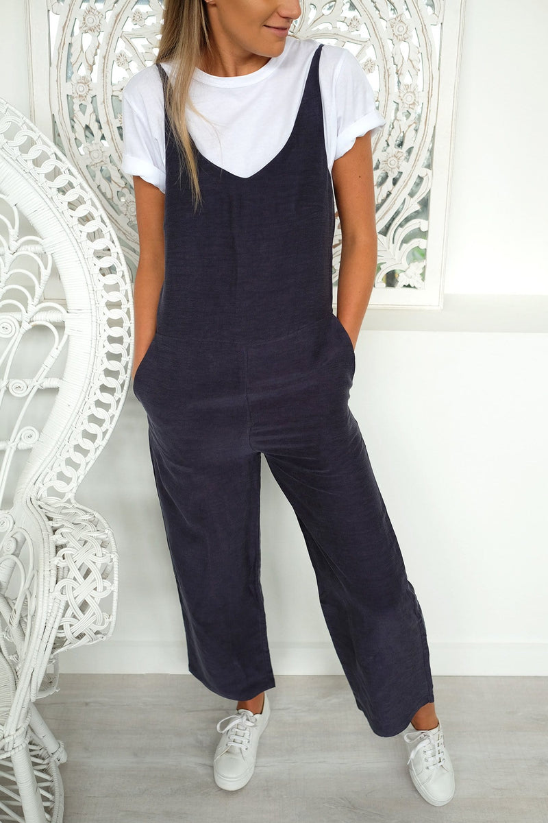 Wide Leg Jumpsuit Worn Navy Assembly Label - Jean Jail