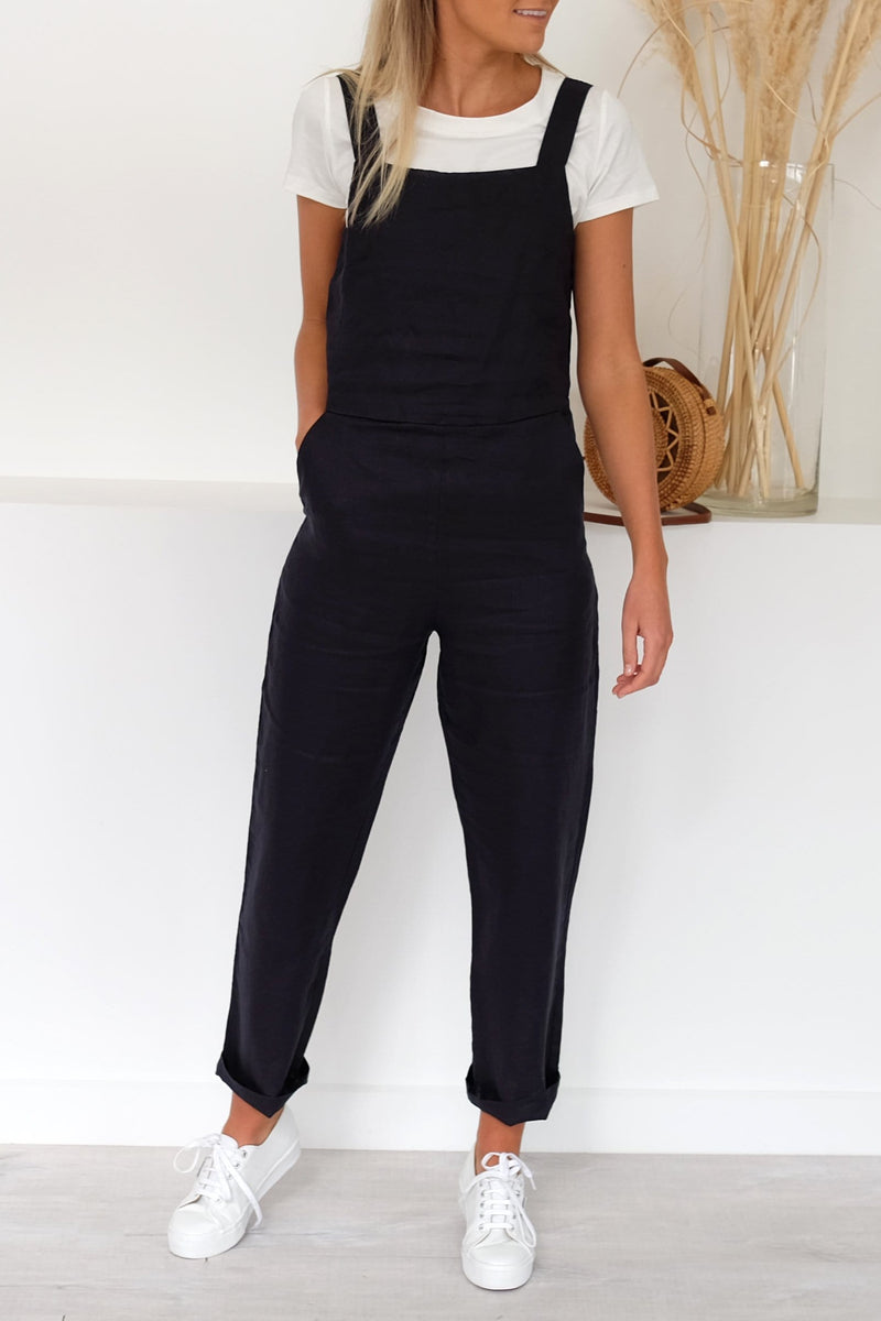 Wide Strap Linen Jumpsuit Worn Navy Assembly Label - Jean Jail