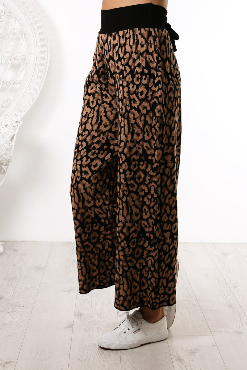Wild Stare Pants Brown Leopard